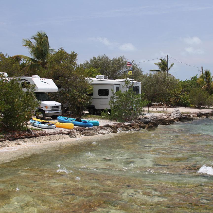 Island camping on Bahia Honda