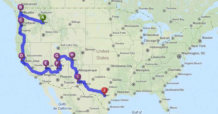 RV roadtrip itinerary