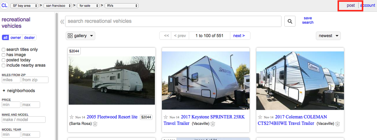 rv rental on craigslist