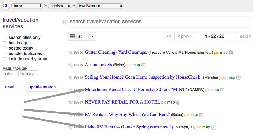 How To Post Your Rv Rental On Craigslist Never Idle Journal