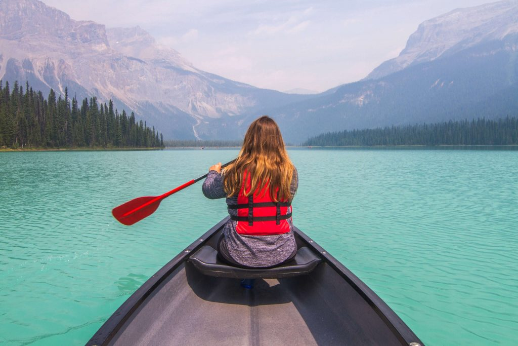 Canoeing at Emerald Lake in Yoho National Park.