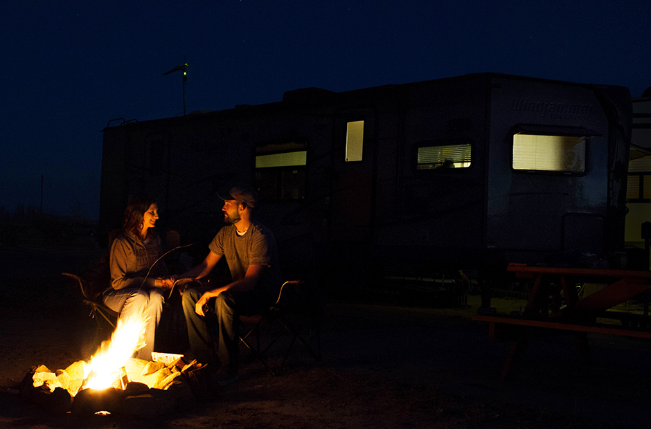 Campfire at RV Park in Texas