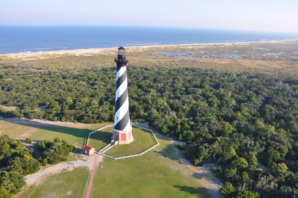 Aerial photo of Cape Hatteras Lighthouse, Outer Banks, North Carolina | Outdoorsy RV Rental Marketplace