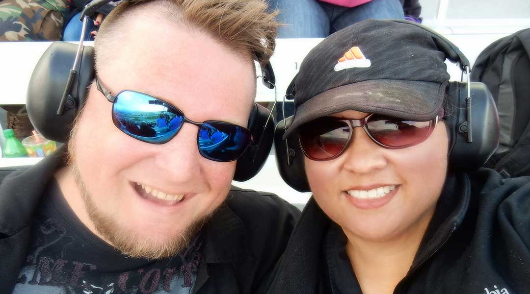 My wife and I at the Las Vegas Speedway.