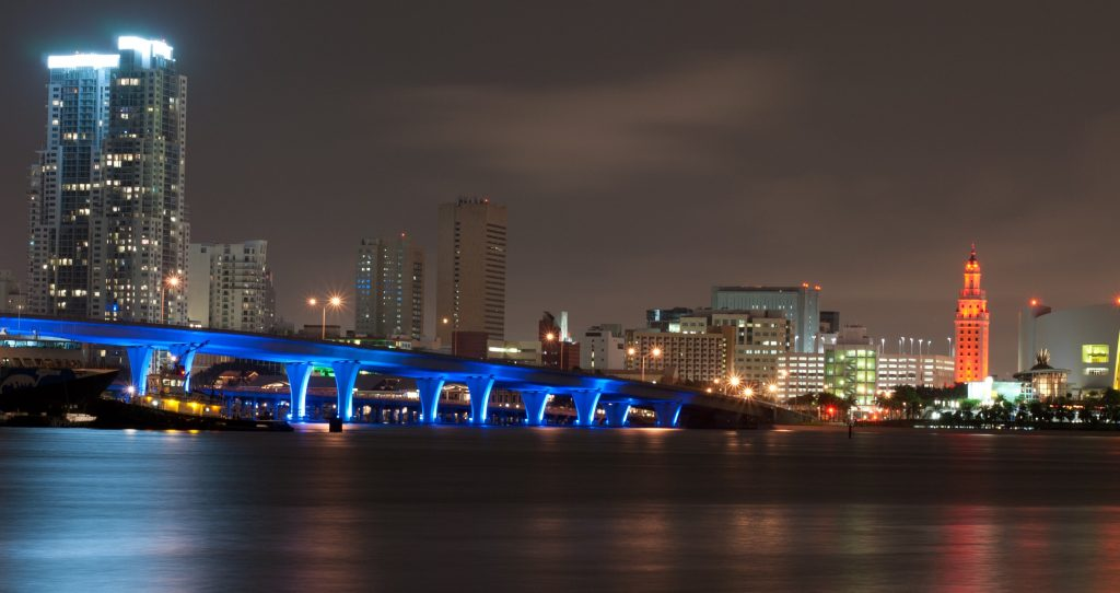 Miami skyline at night, Miami, FL I Outdoorsy RV Rental Marketplace