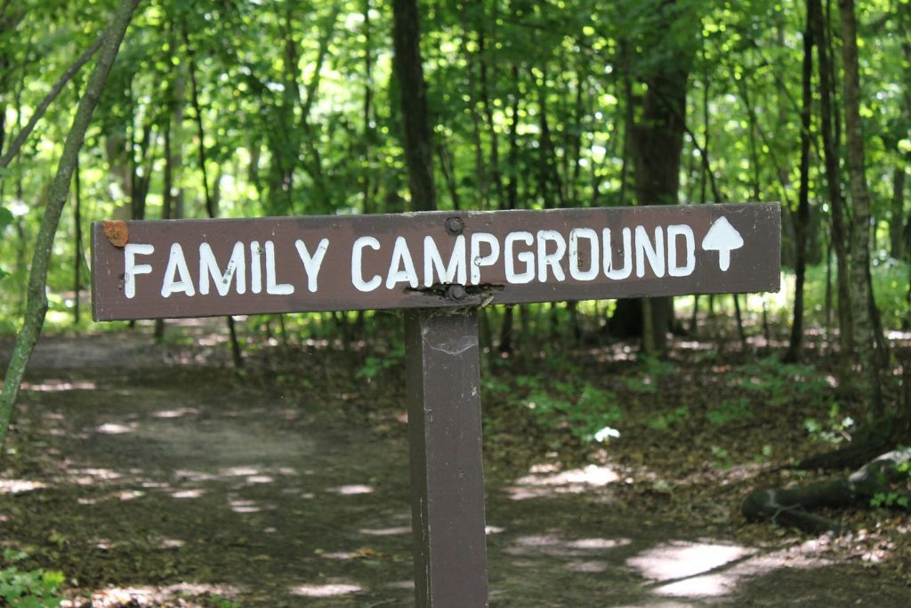 family campground sign at campsite