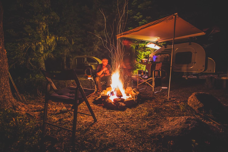 small trailer camping at night