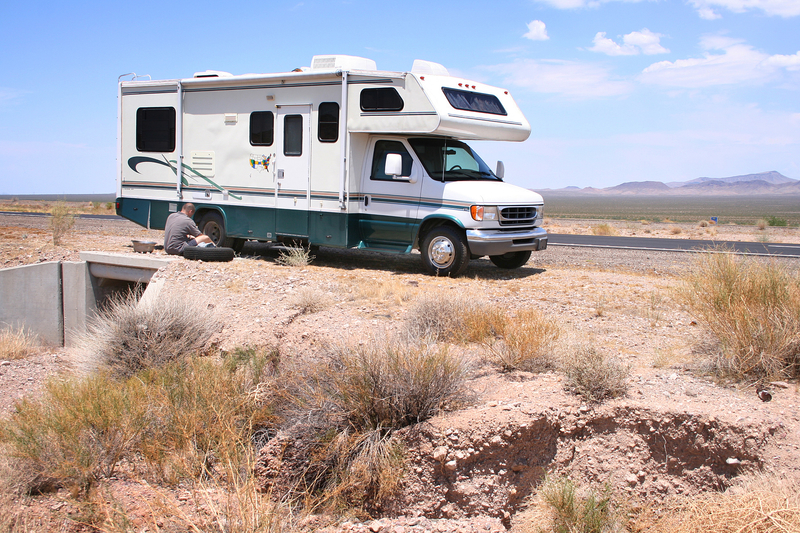 Motorhome with a flat tire