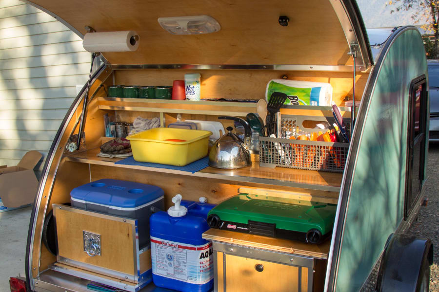 teardrop camper with supplies