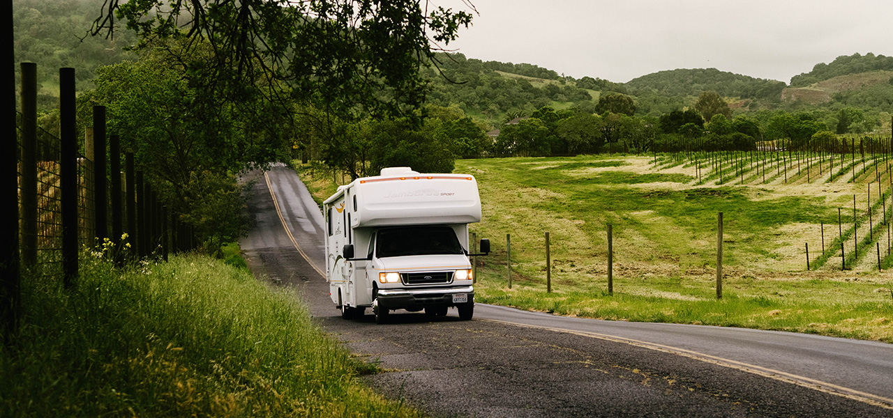 motorhome on country road