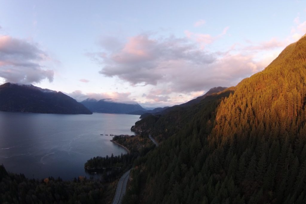 See to sky highway, Vancouver BC. Landcape, mountains, ocean and fluffy clouds. Canadian equivalents of favourite American road trip destinations