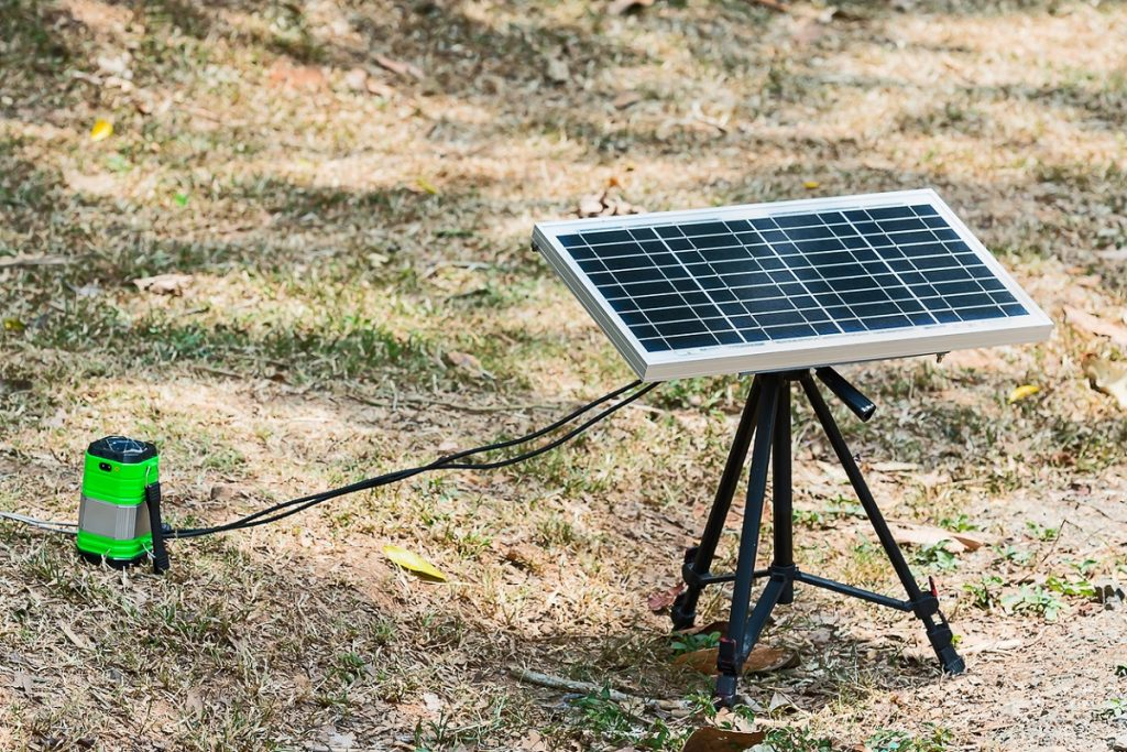RV generator failure. A set of portable solar panels used for camping.