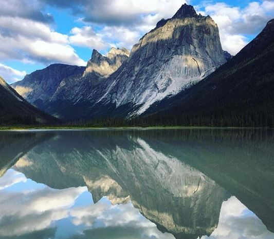 Nahanni National Park, mountain reflected in lake
